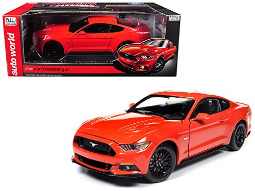 2016 Ford Mustang GT 5.0 Coupe Competition Orange Limited Edition to 1002 pieces 1/18 Diecast Model Car by Auto World AW242