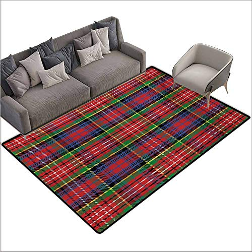 (Bath Rug Slip Plaid Caledonia Scottish Traditional Pattern Tartan Motif Abstract Squares Ornate Quilt Suitable for Outdoor and Indoor use W78 xL106 Multicolor)