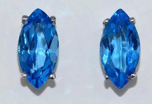 2 Ct Simulated Blue Topaz Marquise Stud Earrings .925 Sterling Silver Rhodium Finish