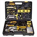CARTMAN 218-Piece Tool Set - General Household Hand Tool Kit with Plastic Toolbox Storage Case, Yellow