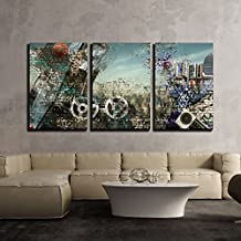 """wall26 - 3 Piece Canvas Wall Art - Modern Background in the Style of Hip-Hop and Grunge - Modern Home Decor Stretched and Framed Ready to Hang - 16""""x24""""x3 Panels"""