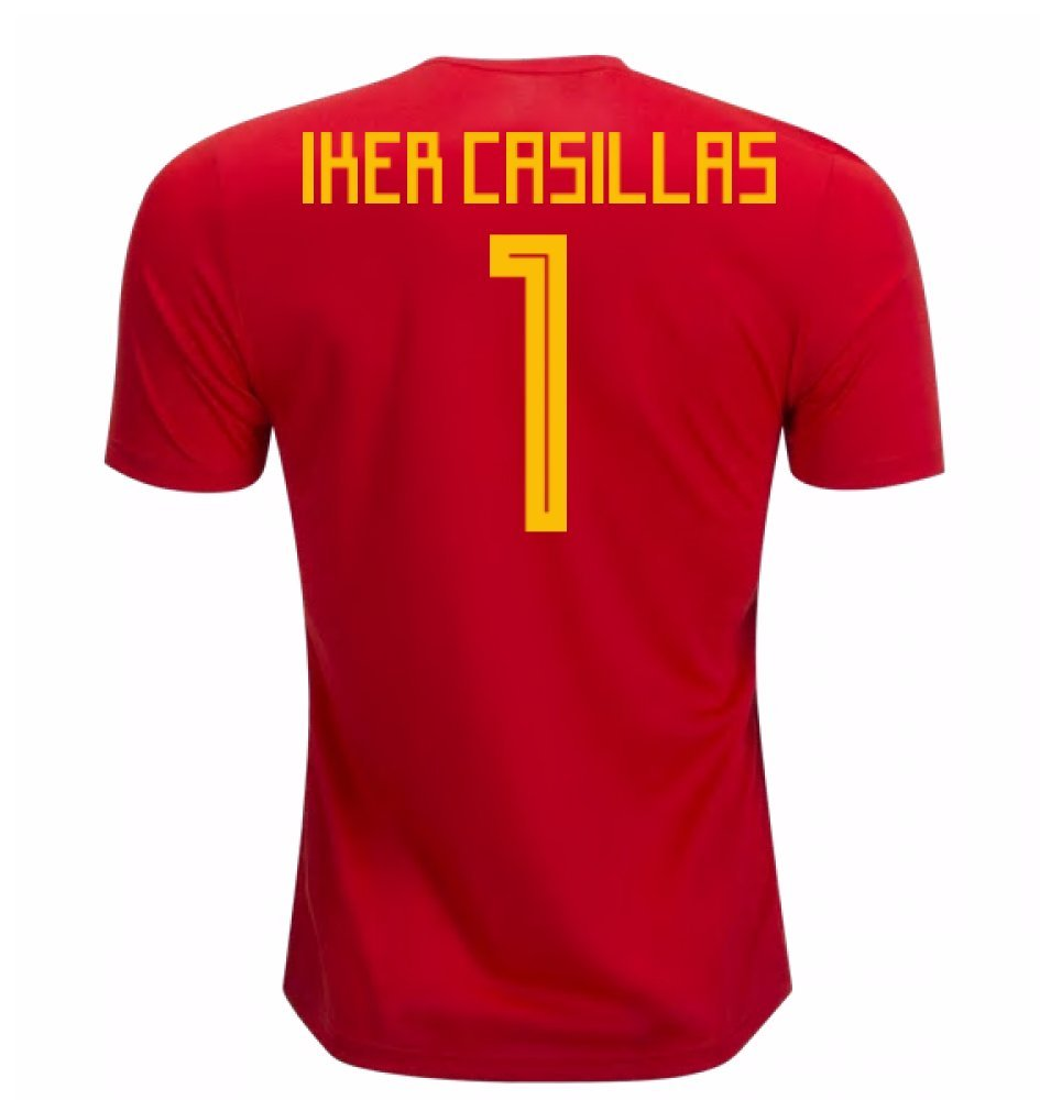 2018-19 Spain Home Football Soccer T-Shirt Trikot (Iker Casillas 1)