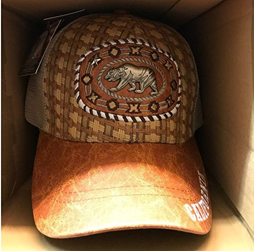 Price comparison product image CALIFORNIA BEAR EMBROIDERED CROCODILE LEATHER CAP BROWN