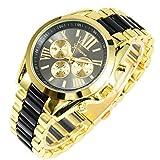 ShoppeWatch Womens Black Gold Watch Roman Numerals Two Tone Metal Band Reloj para Dama BKGD