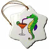 3dRose Funny Cute Seahorse Drinking Margarita Cartoon Snowflake Ornament,