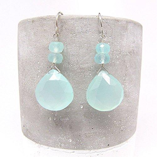 Aqua Chalcedony Briolette Earrings