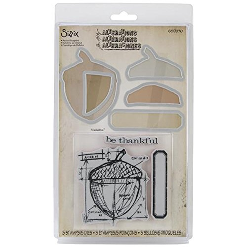 Sizzix Framelits Acorn Blueprint Die Set with Stamps,Pack of 5 Ellison Europe 659370
