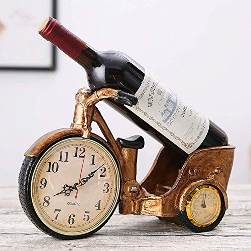 (XQY Wine Shelf Wine Racks Resin Watches and Clocks Tricycle Shaped Creative Retro Wine Cabinet Decoration Living Room Restaurant Home Practical Wine Rack)