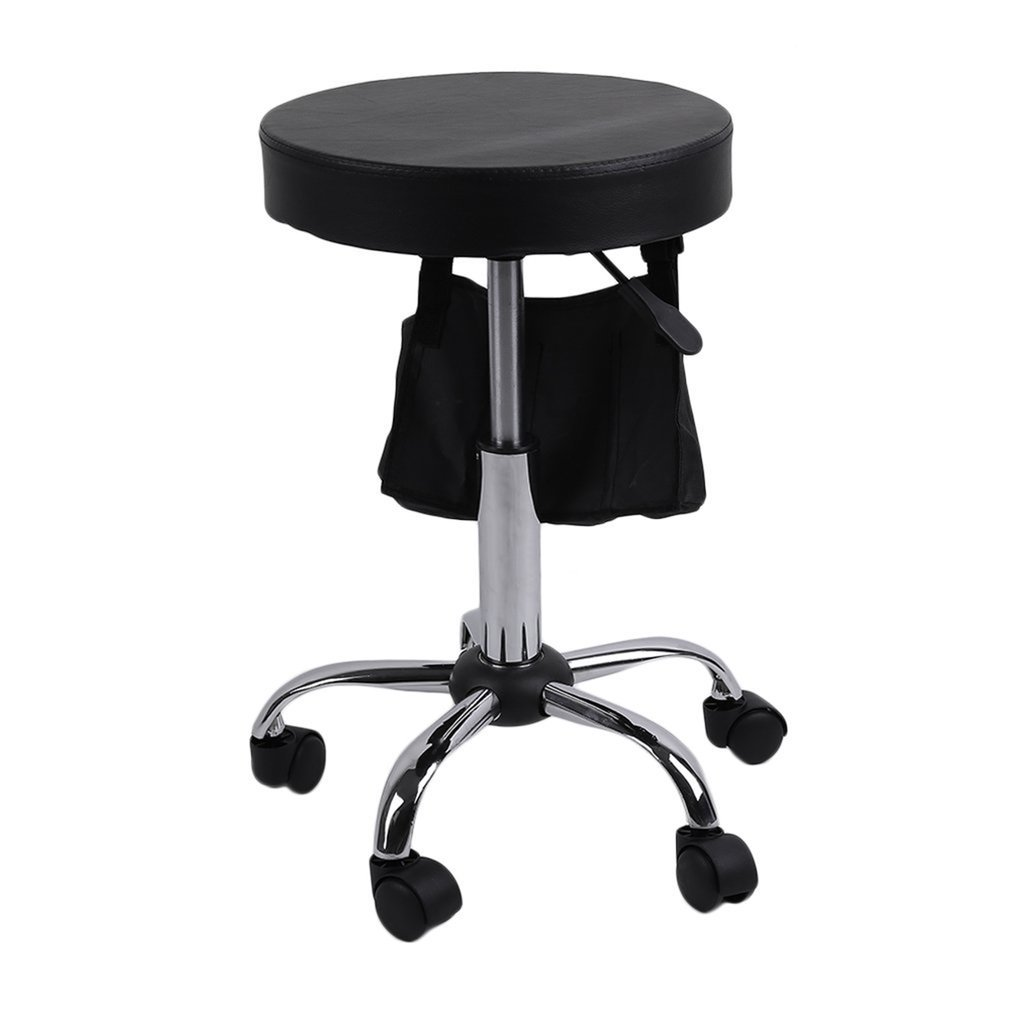 Belovedkai Hydraulic Massage and Salon Stool Medical Spa Stool Height Adjustable Rolling Swivel Stool Chair With Wheels (Black)