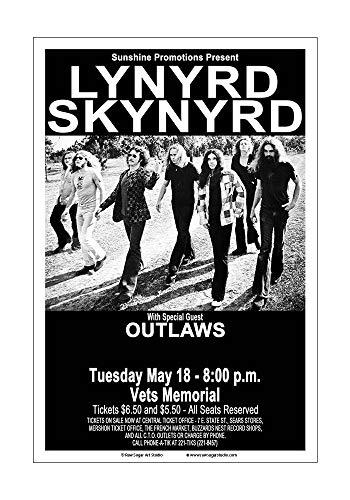 Raw Sugar Art Studio Lynyrd Skynyrd/Outlaws 1976 Columbus Concert - Rock Album Cover