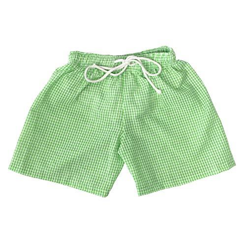 Chichoice Baby Boys Seersucker Swim Trunks Toddler Boys Drawstring Waist Swimsuit Beach Short with Navy Gingham Trim Drawstring (Green, 12/18m) (Green Gingham Shorts)