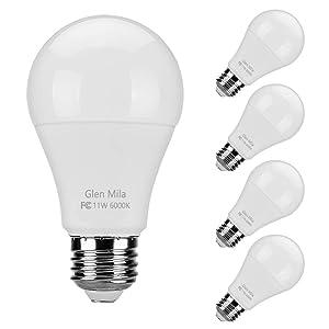 Glen Mila 100 Watt Light Bulb Equivalent (11W) 6000K LED Daylight White Bulbs A19 Type E26 Medium Screw Base 1100 Lumen General Purpose for Home Lighting Non- Dimmable 4 Pack