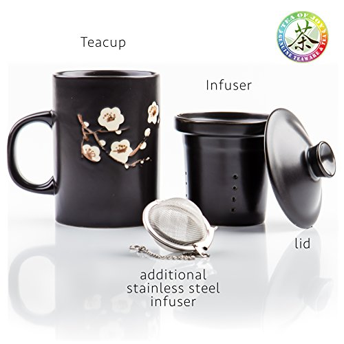 Contemporary Cherry Blossoms Premium Ceramic Mug with loose leaf tea infuser - Matching Ceramic Infuser and Lid and Extra Stainless Steel Infuser Ball, coffee mug, cup, organic green tea maker