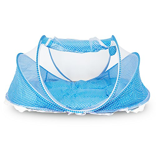ixaer Baby Travel Bed - Folding Baby Crib Mosquito Net Netting Play Tent, Fast Set Up, Anti Mosquito Mesh, Good Ventilation, Double Openable Doors
