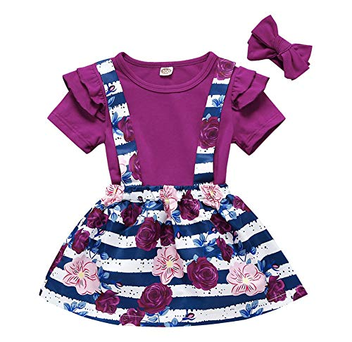Baby Girls Ruffle Sleeve Cotton Tops+Floral Suspenders Skirt Headband Outfits 3Pcs Clothes Set (110, Purple)