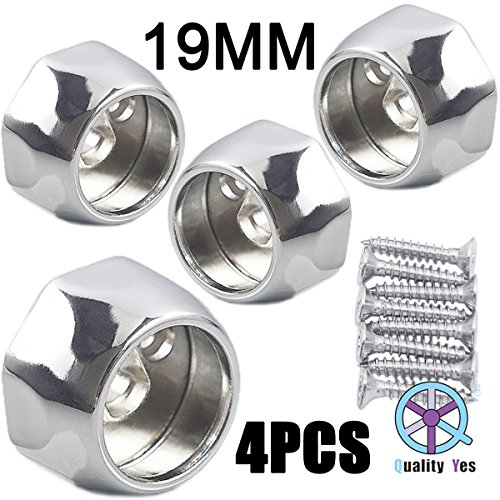 QY 4PCS All Zinc Alloy Wardrobe Pipe Tube Hanging Rod End Bracket Support Wall Mounted Flange Rail Holder Bracket for 19mm Diameter - Rails Mm 19