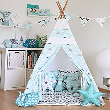 Kids Teepee Tent with 4 Poles and Floor MatPlay Tent Kids Teepee & Kids Teepee Tent with 4 Poles and Floor MatPlay Tent Kids Teepee ...