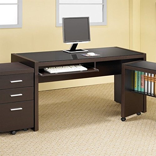 coaster home furnishings 800901 contemporary computer desk, cappuccino