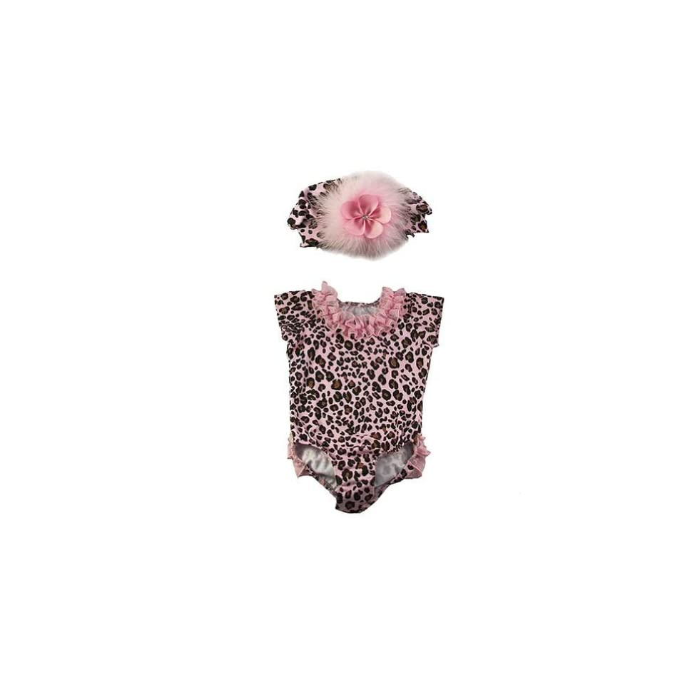 Baby Girls Pink Leopard Ruffle Bodysuit Hat Outfit 12M Reflectionz Clothing