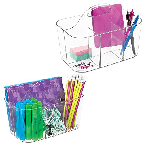 mDesign Small Office Storage Organizer Utility Tote Caddy Holder with Handle for Cabinets, Desks, Workspaces - Holds Desktop Office Supplies, Gel Pens, Pencils, Markers, Staplers - 2 Pack - Clear ()