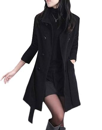 416197760706e Zimaes-Women Strappy Plus Size Wrap Fashion Trench Coat Outerwear Pea Coats  Black M