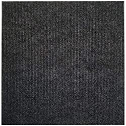 "Houseables Carpet Tiles, Peel And Stick Floor Tile Squares, 144 Pack, Black, 12"" x 12"", 144 Sq. Ft, Self Adhesive Polyester, Commercial Grade, For Home, Living Room, Flooring, Garage, Basements"