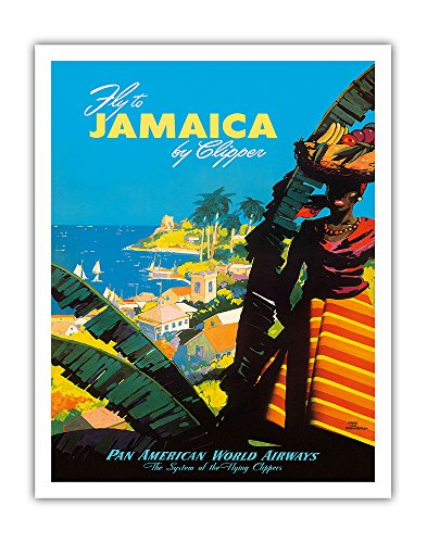 (Jamaica by Clipper - Pan American World Airways PAN AM - Vintage Airline Travel Poster by Mark Von Arenburg 1945 - Fine Art Print - 11in x 14in )