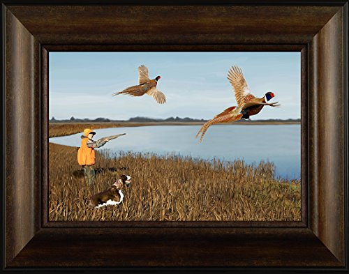 Brittany Spaniel Picture (Young Gun By Todd Thunstedt 20x26 Brittany Spaniel English Springer German Shorthair Pointer Dog Ring-necked Pheasant Hunting Outfitter Lodge Mossberg Weatherby Framed Art Print Wall Décor Picture)