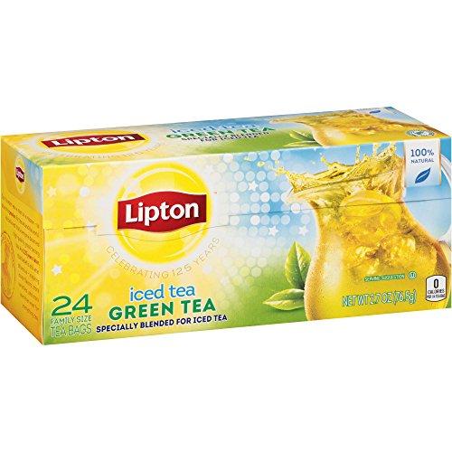 Lipton Iced Tea - Green Tea - 100% Natural - 24 Count Family Size Tea Bags Per Box - Net Wt. 2.7 OZ (76.5 g) Per Box - Pack of 2 (Lipton Sweet Tea Bags)