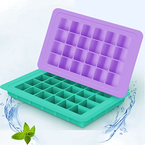 BTSHOW Ice Cube Trays BPA Free Silicone Ice Molds for Mini Fridge 48 Small Square Cubes 2-Pack Ice Cube Molds for Whiskey Baby Food Storage Conatiners ,No Odor or Aftertaste (Purple Green)