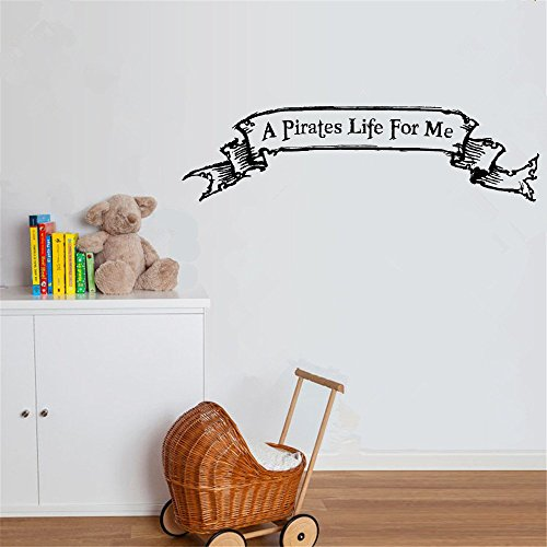 fiupy Decor Stickers Walls Art Words Sayings Removable Lettering A Pirates Life for Me]()