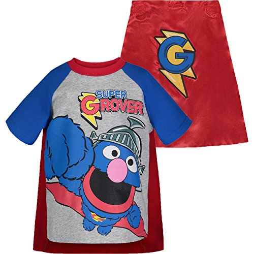 Sesame Street Super Grover Toddler Boys' Caped T-Shirt, Grey (4T)