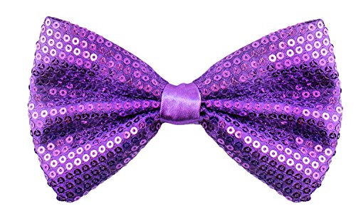 Sequin Bow Ties for Men - Pre-tied Adjustable Length Bowtie, Many Colors to Choose From (Purple)