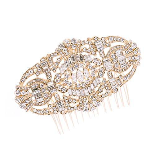 Price comparison product image Art Deco Gold Crystal Rhinestone Bridal Wedding Hair Comb Hairpins Jewelry Accessories 5186 (Gold)