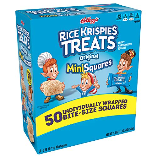 Healthy Kid Halloween Treats (Kellogg's Rice Krispies Treats Original Marshmallow Mini-Squares - School Lunchbox Snack, Single Serve Bite-Sized 0.39 oz Bars (50)