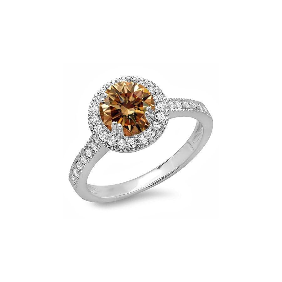 Dazzlingrock Collection 1.15 Carat (ctw) 14K Gold Round Champagne & White Diamond Ladies Bridal Halo Style Engagement Ring