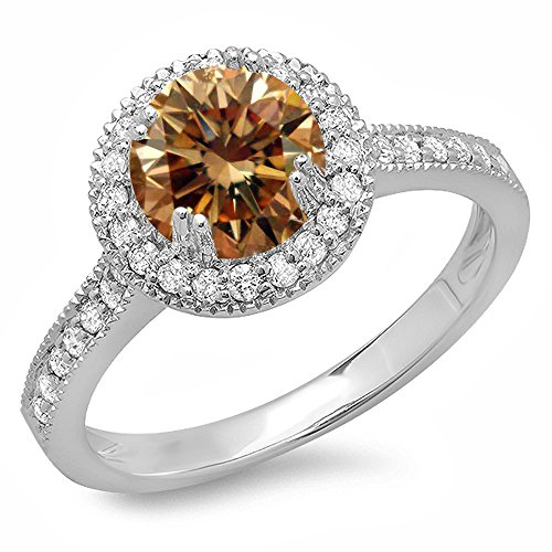 Dazzlingrock Collection 1.15 Carat (ctw) 14K Gold Round Champagne & White Diamond Ladies Bridal Halo Style Engagement Ring