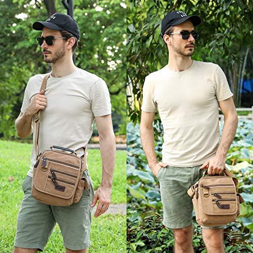 Sunsomen Mens bag Canvas Shoulder Bag Small Messenger Crossbody Bag Work Bag Vintage Multi-function