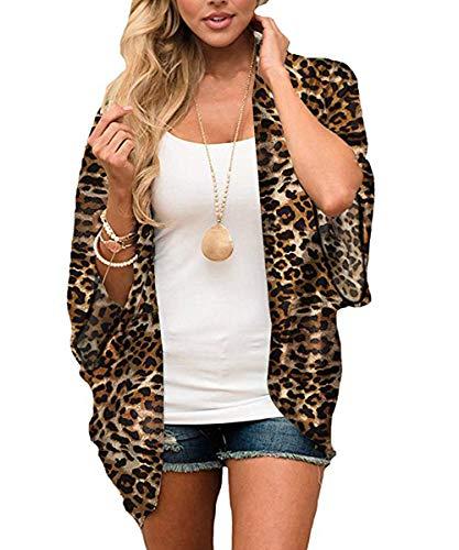 Women Leopard Print Kimono Swimsuit Cover Ups Loose Half Sleeve Shawl Chiffon Casual Beach Cardigan Blouse(Leopard-47 L)