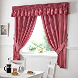 GINGHAM CHECK RED WHITE VALANCE – WIDTH 132″ X DEPTH 10″ TO MATCH CURTAINS DRAPES For Sale