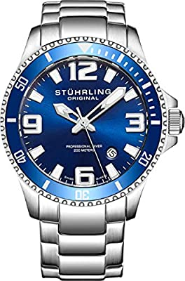 Stuhrling Original Mens Swiss Quartz Stainless Steel Sport Analog Dive Watch, Water Resistant 200 Meters, Blue/Black Dial, Aqua-Diver by Stuhrling Original