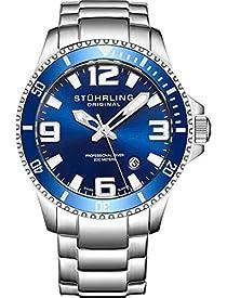 Stuhrling Original Mens Swiss Quartz Stainless Steel Sport Analog Dive Watch, Water Resistant 200 Meters, Blue Dial, Screw Down Crown, Aqua-Diver 395.33U16