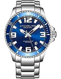 Mens Swiss Quartz Stainless Steel Sport Analog Dive Watch, Water Resistant 200 Meters, Blue Dial, Aqua-diver 395.33U16