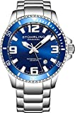 Stuhrling Original Mens Swiss Quartz Stainless Steel Sport Analog Dive Watch, Water Resistant 200 Meters, Blue Dial, Screw Down Crown, Aqua-Diver 395.33U16