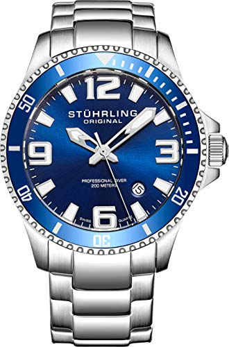 (Stuhrling Original Mens Swiss Quartz Stainless Steel Sport Analog Dive Watch, Water Resistant 200 Meters, Blue Dial, Aqua-diver 395.33U16)