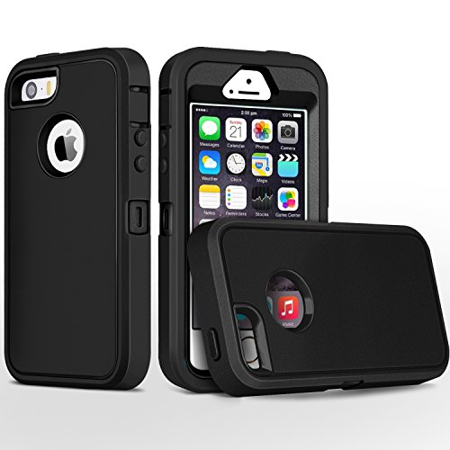 iPhone 5S Case,iPhone SE Case,Fogeek Heavy Duty PC and TPU Combo Protective Body Armor Case Compatible for iPhone 5S,iPhone SE and iPhone 5 with Fingerprint Function (Black) (Case Black Iphone Protective 5s)
