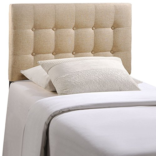 Modway Emily Twin Upholstered Linen Headboard in (Bedroom Fabric Headboard)