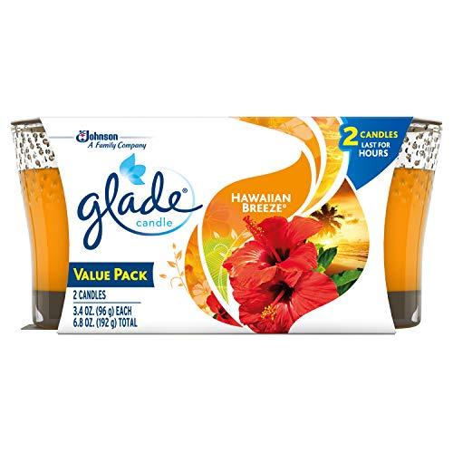 Glade Jar Candle Air Freshener, Hawaiian Breeze, 2 candles, 6.8 oz (Packaging May Vary)