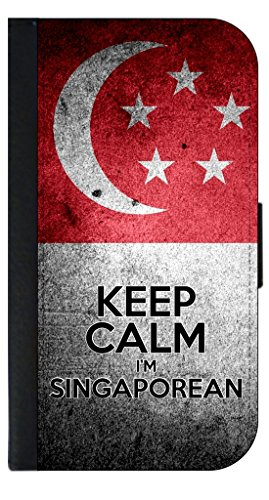 Keep Calm I'm Singaporean-Print Design Phone Case with Closing Flip Cover and Credit Card Slots for the Apple iPhone 7 Made in the - In Outlets Singapore Popular
