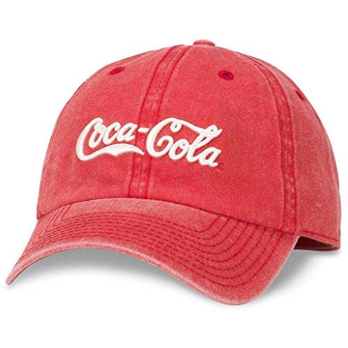 American Needle Raglan Wash Coke Coca Cola Logo Dad Hat, Red (COKE-1708A)